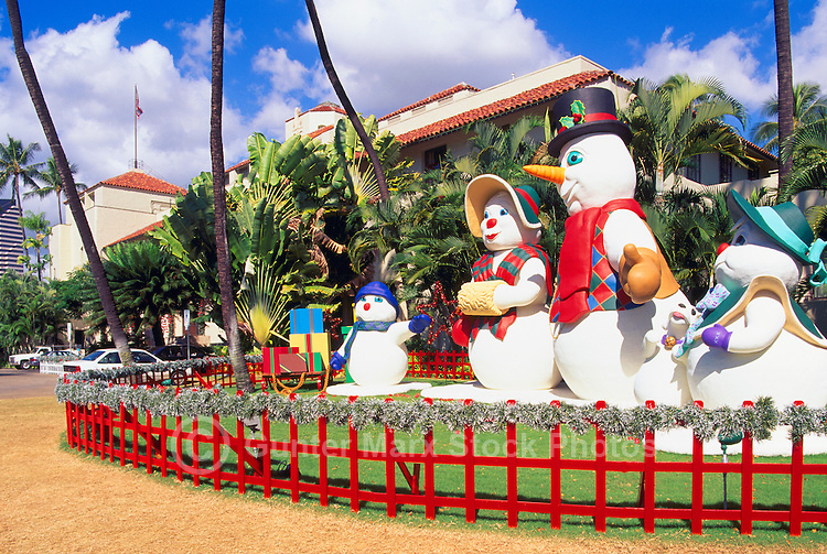 honolulu oahu hawaii hi usa snowman family christmas figures and decorations