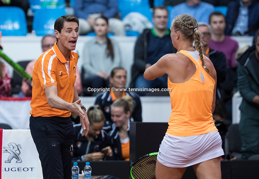 Bratislava, Slovenia, April 22, 2017,  FedCup: Slovakia-Netherlands, seccond rubber : Kiki Bertens (NED) walks toward captain Paul Haarhuis<br /> Photo: Tennisimages/Henk Koster