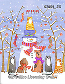 Kate, CHRISTMAS SANTA, SNOWMAN, WEIHNACHTSMÄNNER, SCHNEEMÄNNER, PAPÁ NOEL, MUÑECOS DE NIEVE, paintings+++++Birds on the line with pets,GBKM35,#x#
