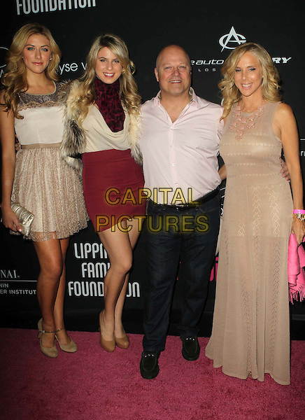 Michael Chiklis and Family.8th Annual Pink Party Held At Hangar 8, Santa Monica, California, USA,   .October 27th, 2012.full length white red beige dress shirt tall short top skirt.CAP/ADM/KB.©Kevan Brooks/AdMedia/Capital Pictures.