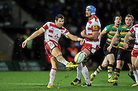 James Hook of Gloucester Rugby puts boot to ball. Aviva Premiership match, between Northampton Saints and Gloucester Rugby on November 27, 2015 at Franklin's Gardens in Northampton, England. Photo by: Patrick Khachfe / JMP