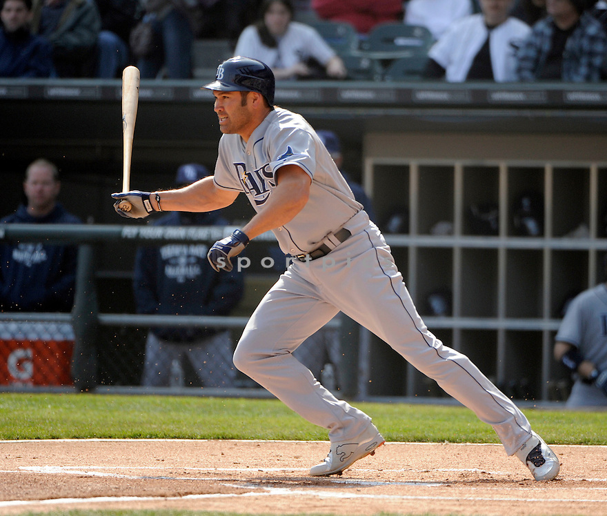 JOHNNY DAMON, of the Tampa Bay Rays , in actions during the Rays game against the Chicago White Sox at US Cellular Field on April 9, 2011.  The Chicago White Sox won the game beating the Tampa Bay Rays 4-2.