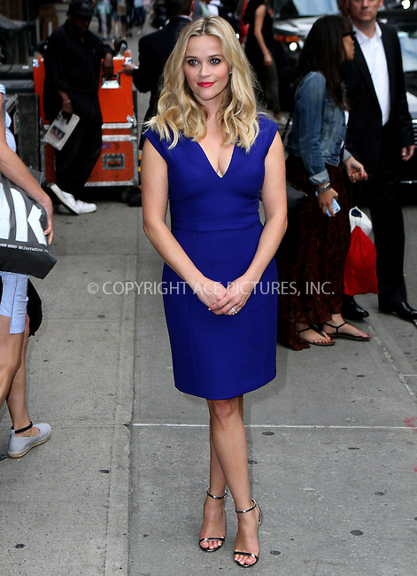 WWW.ACEPIXS.COM<br /> <br /> May 5 2015, New York City<br /> <br /> Actress Reese Witherspoon made an appearance at The Late Show with David Letterman' on May 5 2015 in New York City<br /> <br /> By Line: Nancy Rivera/ACE Pictures<br /> <br /> <br /> ACE Pictures, Inc.<br /> tel: 646 769 0430<br /> Email: info@acepixs.com<br /> www.acepixs.com