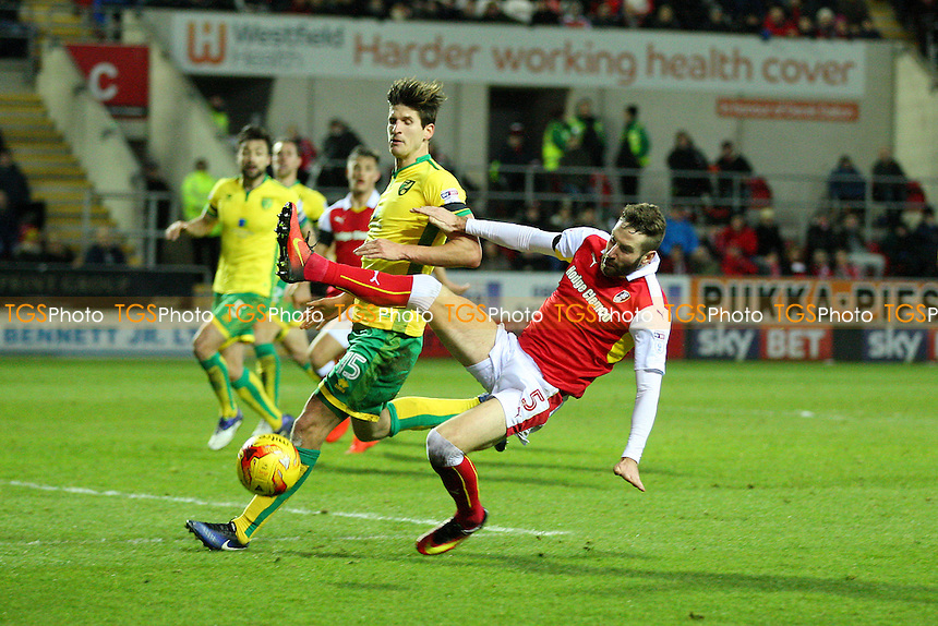 Kirk Broadfoot of Rotherham United wins the ball ahead of Timm Klose of Norwich City during Rotherham United vs Norwich City, Sky Bet EFL Championship Football at the New York Stadium on 14th January 2017