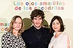 """Hotel Santo Mauro. Madrid. Spain. 30/04/2014. Presentation of the movie """" Los ojos amarillos de los cocodrilos"""".<br /> Quim Gutiérrez, Emmanuelle Béart, Cécile Telerman."""