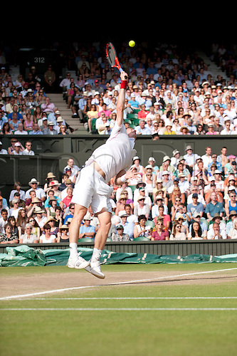 June 30th 2010: Wimbledon International Tennis Tournament held at the All England Lawn Tennis Club, London, England,  Andy Murray of GBR playing  Jo-Wilfrried Tsonga of France in the mens singles quarter finals
