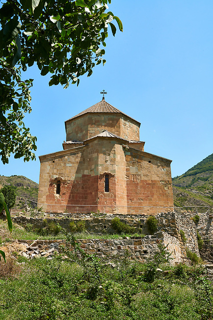Picture & image of Ateni Sioni Georgian Orthodox tetraconch Church, 7th century, Ateni, Georgia.<br /> <br /> Built in the 7th century following the ground plan of Jvari Monastery Ateni Sioni Georgian Orthodox follows a tetraconch cruciform layout with four apse with niches between each and a central cupola.