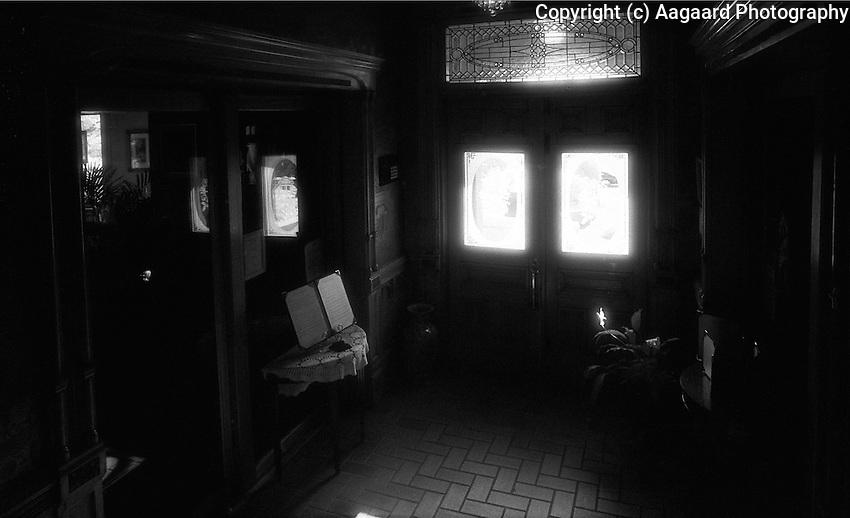 Infrared interior of Manresa Castle, Port Townsend, Washington.<br /> <br /> Nikon F3HP, 24mm lens, Kodak High Speed infrared film, red filter
