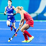 Kelsey Kolojejchick #7 of United States looks for a passing option during USA vs Japan in a Pool B game at the Rio 2016 Olympics at the Olympic Hockey Centre in Rio de Janeiro, Brazil.