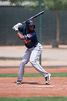 Cleveland Indians second baseman Jhan Rodriguez (4) at bat during an Extended Spring Training game against the Arizona Diamondbacks at the Cleveland Indians Training Complex on May 27, 2018 in Goodyear, Arizona. (Zachary Lucy/Four Seam Images)