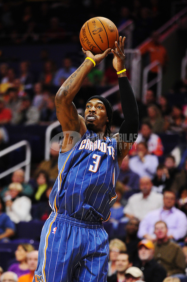 Jan. 26, 2011; Phoenix, AZ, USA; Charlotte Bobcats forward (3) Gerald Wallace against the Phoenix Suns at the US Airways Center. The Bobcats defeated the Suns 114-107. Mandatory Credit: Mark J. Rebilas-