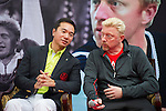 Mission Hills Vice Chairman Tenniel Chu (left) and tennis legend Boris Becker (right) share a chat during the press conference for the opening of Boris Becker Tennis Academy at Mission Hills Resort on 19 March 2016, in Shenzhen, China. Photo by Lucas Schifres / Power Sport Images