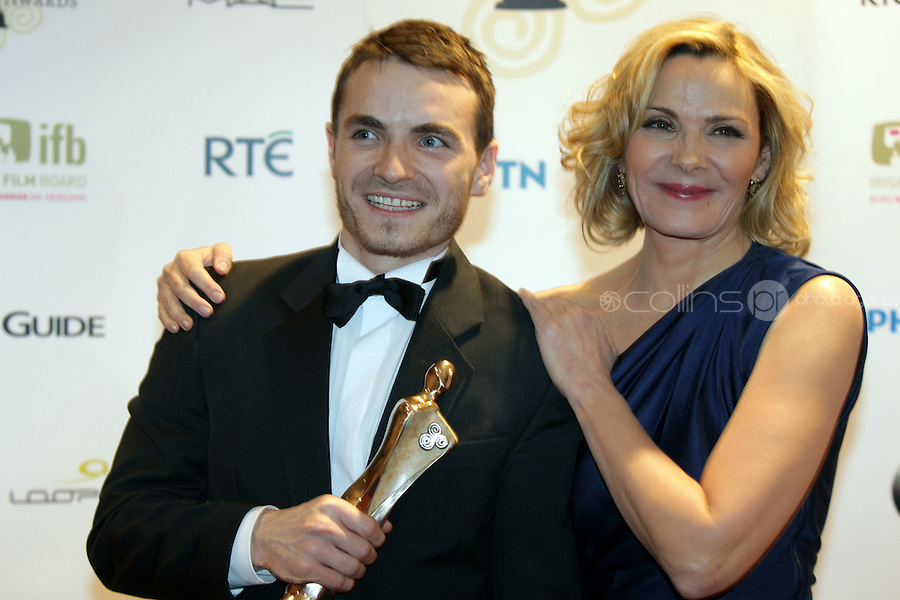 12/2/11 Kim Cattrall with Martin McCann, Best Actor in a Lead Role for Swansong_Story of Occi Byrne,  at the 8th Irish Film and Television Awards at the Convention centre in Dublin. Picture:Arthur Carron/Collins