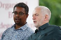 Pictured: (L-R) Vaughan Gething, AM and Labour leader Jeremy Corbyn. Sunday 01 July 2018<br /> Re: Labour Party leader Jeremy Corbyn at the celebration for the 70 years since the National Health Service (NHS) was founded by Aneurin Bevan, Bedwellty Park, Tredegar, Wales, UK.