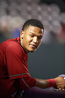 Harrisburg Senators catcher Pedro Severino (4) in the dugout during a game against the New Hampshire Fisher Cats on July 21, 2015 at Metro Bank Park in Harrisburg, Pennsylvania.  New Hampshire defeated Harrisburg 7-1.  (Mike Janes/Four Seam Images)