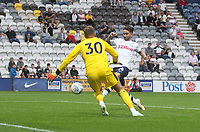 Preston North End's Sean Maguire beats Burnley's Adam Legzdins only to see his goal disallowed<br /> <br /> Photographer Mick Walker/CameraSport<br /> <br /> Football Pre-Season Friendly - Preston North End  v Burnley FC  - Monday 23st July 2018 - Deepdale  - Preston<br /> <br /> World Copyright &copy; 2018 CameraSport. All rights reserved. 43 Linden Ave. Countesthorpe. Leicester. England. LE8 5PG - Tel: +44 (0) 116 277 4147 - admin@camerasport.com - www.camerasport.com