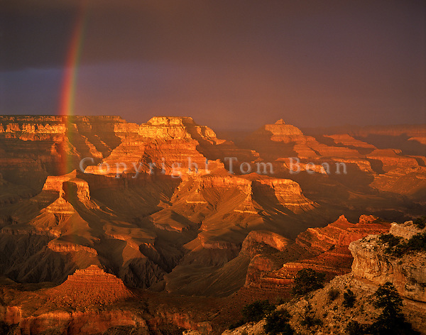 Sunset rainbow at Grand Canyon, Yaki Point on South Rim of Grand Canyon National Park, Arizona, AGPix_0020
