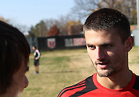 WASHINGTON, DC - NOVEMBER 14, 2012: Perry Kitchen (23) of DC United talks to the press during a practice session before the second leg of the Eastern Conference Championship at DC United practice field, in Washington, DC on November 14.