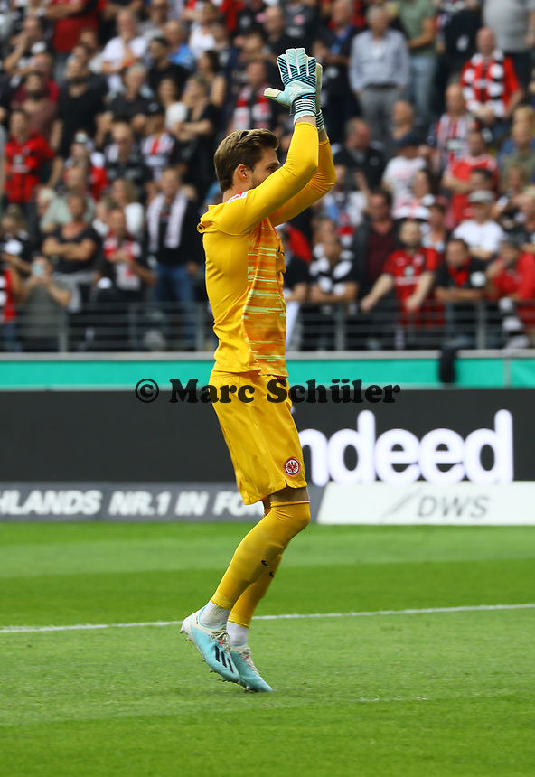 Torwart Kevin Trapp (Eintracht Frankfurt) - 01.09.2019: Eintracht Frankfurt vs. Fortuna Düsseldorf, Commerzbank Arena, 3. Spieltag<br /> DISCLAIMER: DFL regulations prohibit any use of photographs as image sequences and/or quasi-video.