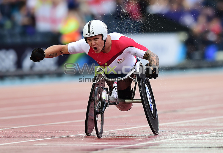 Picture by Alex Broadway/SWpix.com - 31/07/2014 - 2014 Glasgow Commonwealth Games, Day 8 - Athletics - Hampden Park, Glasgow, Scotland - David Weir of England celebrates victory in the Men's 1500m T54 Final.