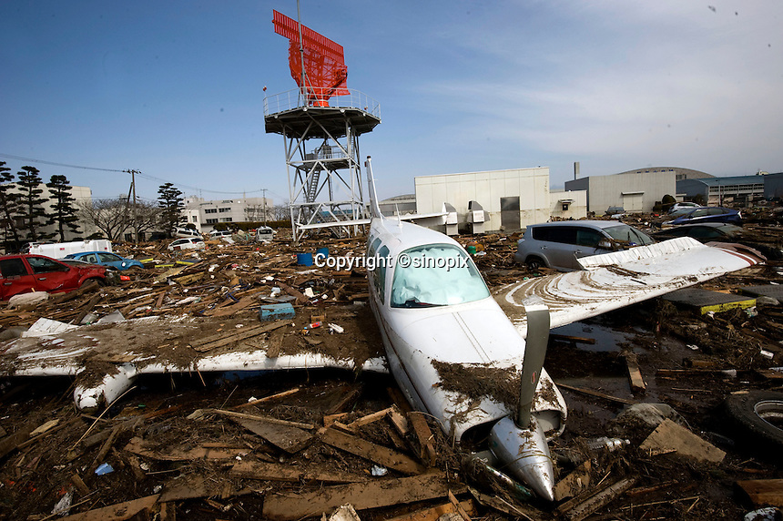 The airport of Sendai was one of the first casualties to be hit by the tsunami wave.  Over 1000 people were trapped in the airport, many believed to have drowned.  Outside planes were overturned along with cars, Sendai, Japan. One of the biggest earthquakes ever recorded struck off the coast of Japan on 11 Mar 2011 had killed thousands of people. The death toll was expected to rise dramatically, with tens of thousands reported missing..13 Mar 2011
