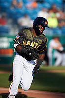 San Jose Giants left fielder Jean Angomas (46) hustles down the first base line during a California League game against the Visalia Rawhide on April 13, 2019 at San Jose Municipal Stadium in San Jose, California. Visalia defeated San Jose 4-2. (Zachary Lucy/Four Seam Images)