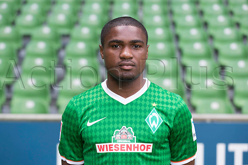 29.07.2013. Bremen, Germany.  The picture shows German Soccer Bundesliga club SV Werder Bremen's Cedrick Makiadi during the official photocall for the season 2013-14 in Bremen.