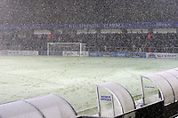 Snow starts falling as the fans wait for the two teams to enter the field of play during Wycombe Wanderers vs Macclesfield Town, Coca Cola League Division Two Football at Adams Park on 28th October 2008