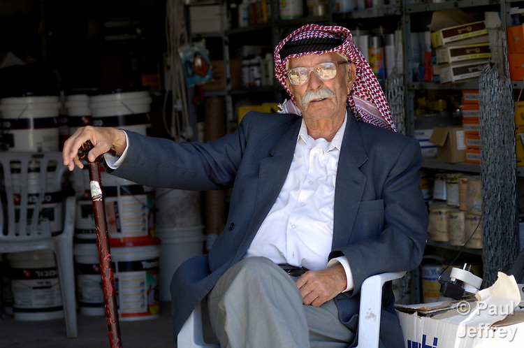 A Palestinian man in the West Bank village of Aboud..