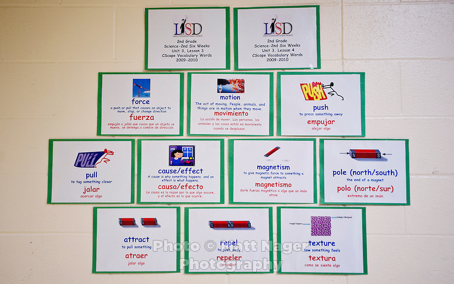 Bi-lingual cards line the hall ways at C. M. Macdonnell Elementary School in Laredo, Texas, US, Tuesday, Dec., 8, 2009. With over 95 percent of the population as Hispanic Spanish speakers, Laredo ranked the lowest in literacy rates in the 2000 US census. Today there are a number of bi-lingual and dual language classes set up to help students and adults learn english...PHOTOS/ MATT NAGER