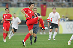 10 August 2008: Zhao Xuri (CHN) (16).  The men's Olympic soccer team of Belgium defeated the men's Olympic soccer team of China 2-0 at Shenyang Olympic Sports Center Wulihe Stadium in Shenyang, China in a Group C round-robin match in the Men's Olympic Football competition.