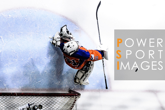 Principal Team Goalie #31 Matthew Young (r) makes a save on Gaggia Empire during the Principal Standard League match between Principal vs Gaggia Empire at the Mega Ice on 24 January 2017 in Hong Kong, China. Photo by Marcio Rodrigo Machado / Power Sport Images