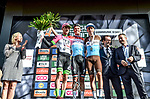 Luxembourg Champion Bob Jungels (LUX) Quick-Step Floors wins the 104th edition of La Doyenne, Liege-Bastogne-Liege 2018 with Michael Woods (CAN) EF-Drapac-Cannondale in 2nd place and Romain Bardet (FRA) AG2R in 3rd, running 258.5km from Liege to Ans, Belgium. 22nd April 2018.<br /> Picture: ASO/Karen Edwards | Cyclefile<br /> <br /> <br /> All photos usage must carry mandatory copyright credit (&copy; Cyclefile | ASO/Karen Edwards)