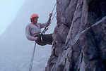 National Outdoor Leadership School climber, rappelling, North Cascades National Park, Cascade Mountains, Washington State, Pacific Northwest, U.S.A., Gordon Barker, .