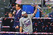 3rd February 2019, Atlanta Georgia, USA; NFL Superbowl LIII, New England Patriots versus Los Angeles Rams;   New England Patriots wide receiver Julian Edelman (11) holds up the Vince Lombardi Trophy after being named MVP of Super Bowl LIII