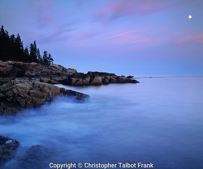 USA; Maine. Acadia National Park;  Moonrise over the Atlantic