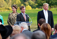 Oct. 04, 2011 - Charlottesville, VA. USA; Virginia Governor Bob McDonell speaks in front of Patricia kluge, left, and Donald trump, right, during a press conference announcing the grand opening of Trump Vineyard Estates Tuesday in Charlottesville, Va. Trump purchased the foreclosed vineyard, previously owner by Patricia Kluge, at auction earlier this year. The 2,000 acre Trump Vineyard estate is also the home to Trump Winery, helmed by Donald's son Eric Trump.  (Credit Image: © Andrew Shurtleff)