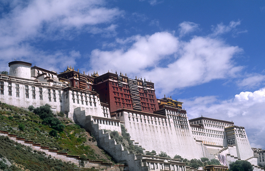 Wonderful Potala Palace on mountain the home of the Dalai Lama in capital city of Lhasa Tibet China