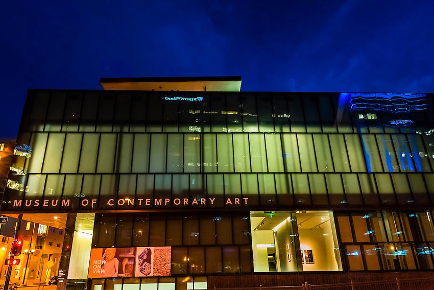 Museum of Contemporary Art Denver at twilight, LoDo (lower downtown) Denver, Colorado USA.