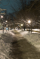 Sidewalk on Prospect Park West alongside Prospect Park after a Snow Storm, Park Slope, Brooklyn, New York City, New York State, USA