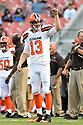CLEVELAND, OH - AUGUST 18, 2016: Quarterback Josh McCown #13 of the Cleveland Browns takes part in a drill prior to a preseason game on August 18, 2016 against the Atlanta Falcons at FirstEnergy Stadium in Cleveland, Ohio. Atlanta won 24-13. (Photo by: 2016 Nick Cammett/Diamond Images) *** Local Caption *** Josh McCown