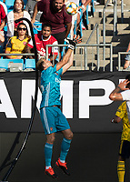 CHARLOTTE, NC - JULY 20: Bernd Leno #1 during a game between ACF Fiorentina and Arsenal at Bank of America Stadium on July 20, 2019 in Charlotte, North Carolina.