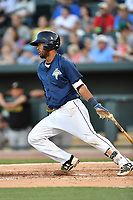Second baseman Luis Carpio (18) of the Columbia Fireflies bats in a game against the West Virginia Power on Friday, May 19, 2017, at Spirit Communications Park in Columbia, South Carolina. West Virginia won, 3-1. (Tom Priddy/Four Seam Images)