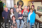 Celebrating his 30th birthday was Mark Flood(centre) from Strand, pictured here with family and friends last Saturday night in Matt McCoys Bar, Abbeyfeale.