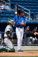 Biloxi Shuckers shortstop Mauricio Dubon (10) at bat in front of catcher Oscar Hernandez (28) during a game against the Jackson Generals on April 23, 2017 at MGM Park in Biloxi, Mississippi.  Biloxi defeated Jackson 3-2.  (Mike Janes/Four Seam Images)