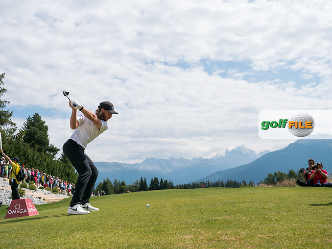 Tommy Fleetwood (ENG) in action on the 7th hole during final round at the Omega European Masters, Golf Club Crans-sur-Sierre, Crans-Montana, Valais, Switzerland. 01/09/19.<br /> Picture Stefano DiMaria / Golffile.ie<br /> <br /> All photo usage must carry mandatory copyright credit (© Golffile | Stefano DiMaria)