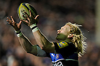 Tom Biggs of Bath Rugby makes sure during the LV= Cup semi final match between Bath Rugby and Leicester Tigers at The Recreation Ground, Bath (Photo by Rob Munro, Fotosports International)