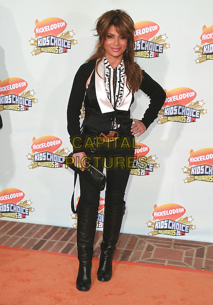 PAULA ABDUL.20th Annual Nickelodeon Kids' Choice Awards held at UCLA's Pauley Pavilion, Westwood, California, USA..March 31st, 2007.full length black trousers YSL belt waistcoat white shirt hand on hip.CAP/ADM/CH.©Charles Harris/AdMedia/Capital Pictures
