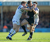 Exeter Chiefs' Ollie Devoto in action during todays match]<br /> <br /> Photographer Bob Bradford/CameraSport<br /> <br /> Premiership Rugby Cup - Exeter Chiefs v Bath Rugby - Sunday 24th March 2019 - Sandy Park - Exeter<br /> <br /> World Copyright © 2018 CameraSport. All rights reserved. 43 Linden Ave. Countesthorpe. Leicester. England. LE8 5PG - Tel: +44 (0) 116 277 4147 - admin@camerasport.com - www.camerasport.com