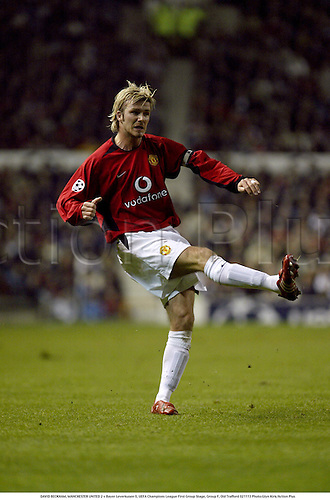 DAVID BECKHAM, MANCHESTER UNITED 2 v Bayer Leverkusen 0, UEFA Champions League First Group Stage, Group F, Old Trafford 021113 Photo:Glyn Kirk/Action Plus...Soccer football 2002 .........